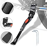 WisFox Bike Kickstand Aluminum alloy Adjustable Bicycle Side Kickstand for Bike with Concealed Spring-Loaded Latch, for 24-29 Inch lightweight, midweight and cruiser Bicycles