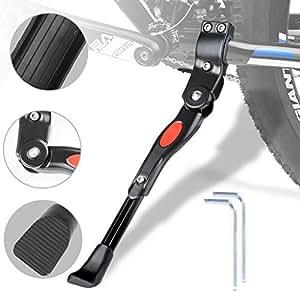 """WisFox Cavalletto Regolabile per Bici 24-29"""" con Nottolino Nascosto Caricato a Molla Alluminio Bici Ciclo Bicicletta Robusto Cavalletto Kick Stand Supporto per MTB (Nero)"""
