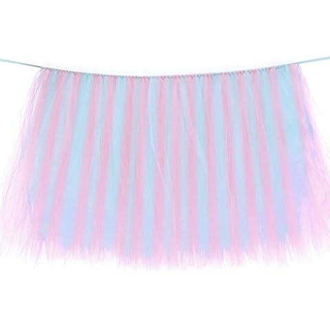 Babysbreath Tulle Tutu Table Skirt Housse en tissu de table pour enfants Décoration de mariage pour fête d'anniversaire Rose bleu pâle 80*91.5cm
