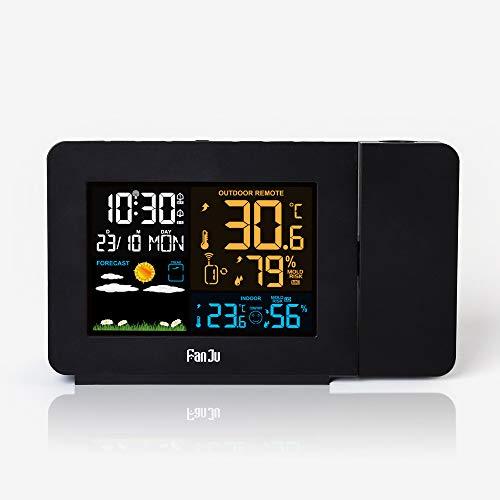 Yushufang Digitale Projektionsuhr, Atomprojektionsuhr, Projektionswecker, LCD-Hintergrundbeleuchtung Mit Innentemperatur, Wetter, Schlummerfunktion, USB-Ladeanschluss (Schwarz)