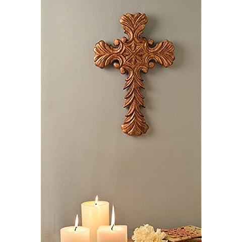 18 X 12 Vintage legno Christian Cross Parete Con Rich Mahogany Finish per ufficio e casa