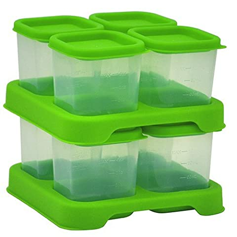 green sprouts Fresh Baby Food Unbreakable Storage Cubes (120 ml, Green, Pack of 8)