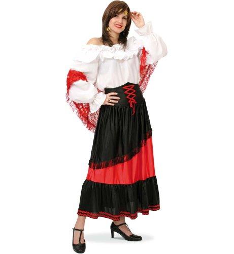 KarnevalsTeufel Damenrock Gipsy Girl in schwarz-rotem Stoff mit Fransen-Verzierung und Muster Taille Zigeuner Sinti und Roma Aber auch passend zu Anderen Kostümen (40)
