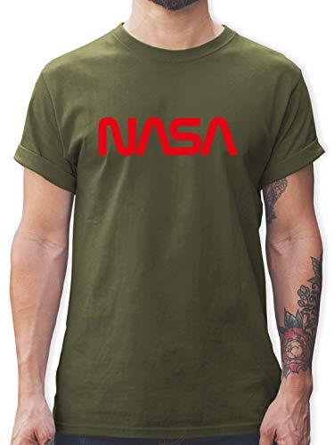 Nerds & Geeks - NASA Worm Motiv - L - Army Grün - L190 - Herren T-Shirt und Männer Tshirt -