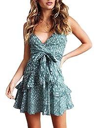 5bd07985015541 Ajpguot Trägerkleid Damen Sommerkleid Blumen Kurz Kleid Sexy V-Ausschnitt  Minikleid Partykleid Mode Spaghettiträger Kleider