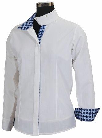Equine Couture Damen-Shirt Isabel Coolmax Show, Damen, White/Argyle, 42 (Argyle-kragen)