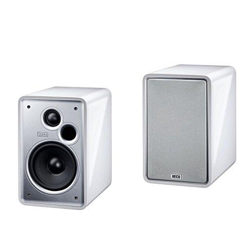 Heco Music Colors 100 , Design Regal- und Sideboardlautsprecher , speziell auf akustisch schwierige Praxisbedingungen abgestimmt - Piano White (1 Paar)