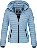 Marikoo Damen Jacke Steppjacke Übergangsjacke mit Kapuze gesteppt B600 [B600-Samt-Baby-Blau-Gr.XS]