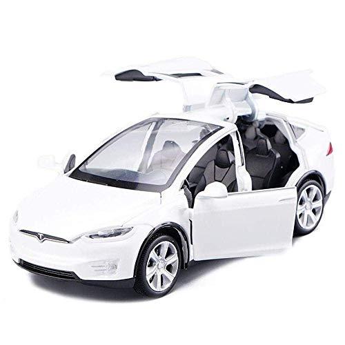 Chidi Toy Automodell Spielzeugauto Tesla Model X 90 1:32 Fahrzeug Legierung zurückziehen mit Sound & Light für Kinder Kids Toys Türen öffnen (Weiß)