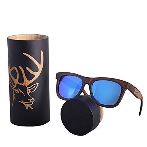 FYrainbow Fahrbrillen, Herren-und Damenhölzerne Sonnenbrillen Sportbrillen Retro-Stil Bambus und Holz-Sonnenbrillen Harzlinsen UV400