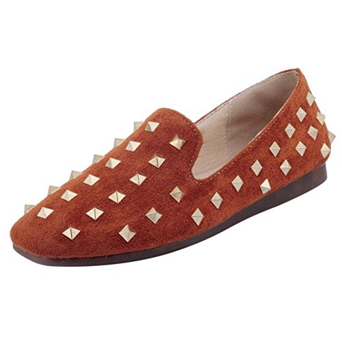 RAZAMAZA Femmes Mode Flates Escarpins Rivets Yellow-Brown