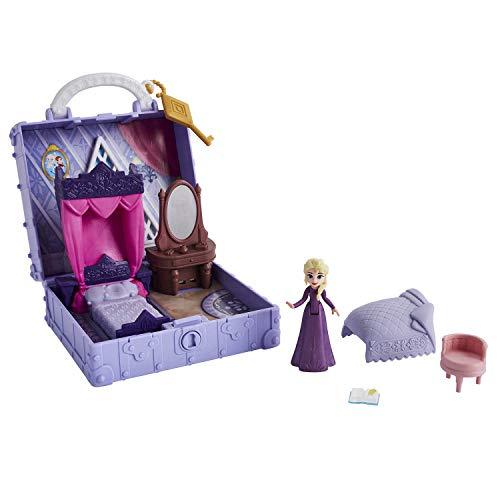 Disney Eiskönigin Pop-Up Abenteuer Elsas Zimmer Spielset mit Griff, inklusive Elsa Puppe, Tagebuch, Stuhl und Decke - Spielzeug für Kinder ab 3 Jahren