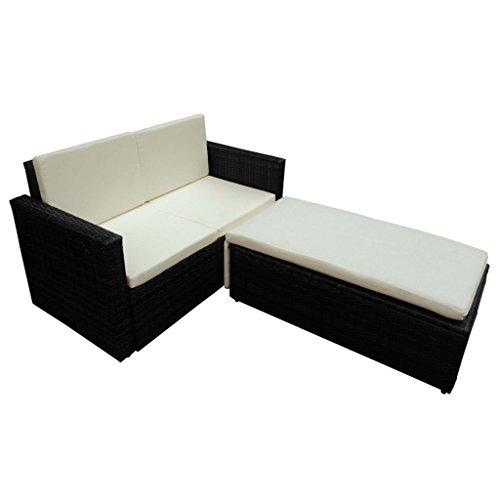 Set arredo giardino rattan: divano, letto, chaise long, nero