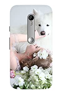 AMAN Girl with Dog 3D Back Cover for Motorola Moto G - 3rd Gen