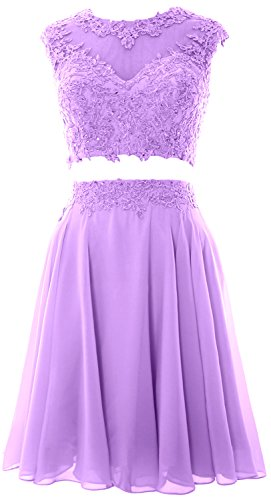 MACloth Women Vintage 2 Piece Prom Homecoming Dress Lace Wedding Party Gown (Custom Size, Lavendel) (Womens Bras Lavendel)