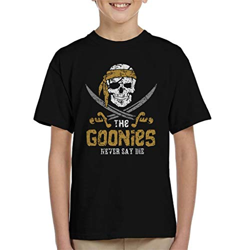 Goonies Skull Logo Never Say Die Kid's T-Shirt (Shuffle T-shirt Truffle)