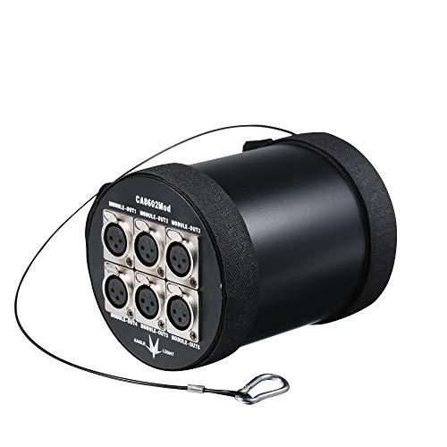 Lilideni DMX512 LED Signal Splitter Isolation Modularer 6-Kanal-Verstärker Unabhängiger DMX-Signalverteiler 3-poliger XLR-Ausgang mit Signalanzeige Bühnenbeleuchtung Zubehör -