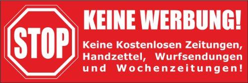 Keine Werbung! 5 rote Briefkastenaufkleber 105x35 mm- Keine kostenlosen Zeitungen, Handzettel, Wurfsendungen und Wochenzeitungen!