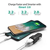 Car Charger RAVPower USB Car Adapter Chargers with 12V 24W 4.8A 2-port for iPhone XS/XR/XS Max, Galaxy S9, LG, Nexus, HTC with iSmart 2.0 Tech – Black Bild 2