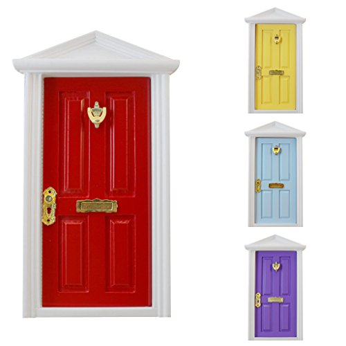 MagiDeal Porta Interiormente Aperta In Legno 4-pannello Per Bambole Casa Scala 1/12 In Miniatura - Rosso
