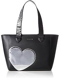 Love Moschino - Borsa Calf Pu Nero+tpu Argento, Bolsos totes Mujer, Mehrfarbig (Black/silber), 28x44x13 cm (W x H D)
