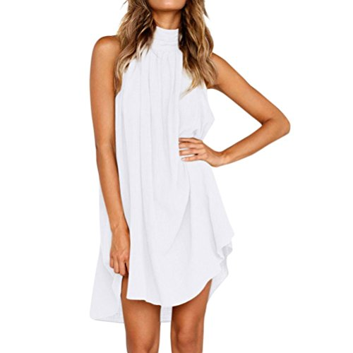 ESAILQ Damen Frauen Sommer Ärmelloses Party Kleide Ultra Damen Pique-Kleid(L,Weiß)