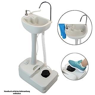 BB SPORT Mobiles, tragbares Camping Waschbecken Handwaschbecken mit Fußpumpe und Seifenspender 19 Liter Frischwassertank Unabhängig von Strom- und Wasseranschluss
