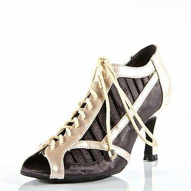 Silence @ Chaussures de danse pour femme en satin satiné latine Sandales Talon aiguille Talon Practise débutant extérieur Performance Noir/rouge noir
