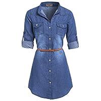 SS7 New Womens Vintage Denim Blue Button up Shirt Dress Plus Sizes 16-24 (16, Denim Blue)