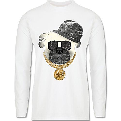 Hunde - Bad Boy Mops Vintage - Longsleeve / langärmeliges T-Shirt für Herren Weiß