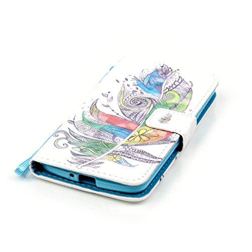 LG K5 Custodia, Ukayfe 2016 Modello Bumper Slim Folio Protectiva Custodia portafoglio / wallet / libro in pelle - 3D Disegni Retro Ciliegio Modello Sollievo Con Cinturino da Polso Magnetico Snap-on Bo Piume Colorate