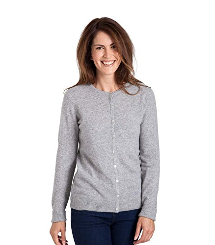 WoolOvers Cardigan à col rond - Femme - Cachemire Grey Marl