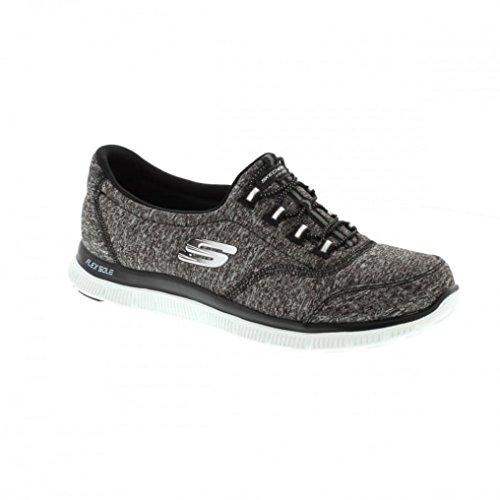 Skechers Damen Slipper Flex Appeal Schwarz/Weiß, Schuhgröße:EUR 36