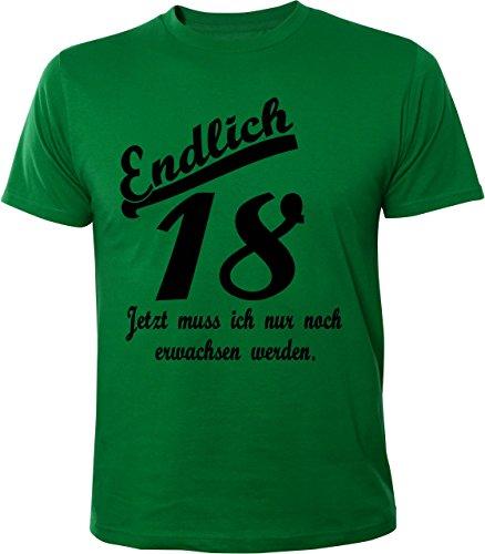 Mister Merchandise Witziges Herren Männer T-Shirt Endlich 18 Jetzt muss ich nur noch erwachsen werden Geburtstag Volljährig , Größe: M, Farbe: Grün (T-shirt Grün-erwachsenen Tee)