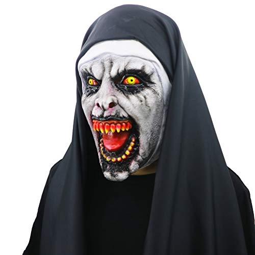y Latex Nonne Maske Vollgesichtsbedeckt Mit Kopftuch Für Erwachsene Kinder Kinder Cosplay Streich Requisiten ()