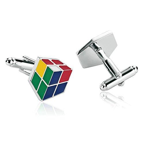 KnSam Herren Edelstahl Französische Manschettenknöpfe 3D Rubik Cube IQ Test Multicolor [Hemd Manschettenknöpfe Hochzeitsgeschäft]