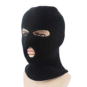 Astrryfarion Gesichtsmaske mit 3 Löchern, Winddicht, Unisex, gestrickt, für den Außenbereich, Radfahren, Skifahren
