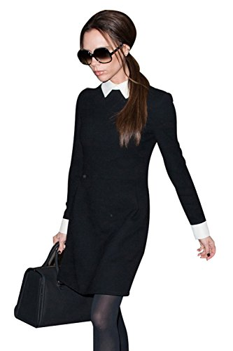 e Peter Kragen Langarm Kleid Rock Victoria (Wednesday Addams Kleid)