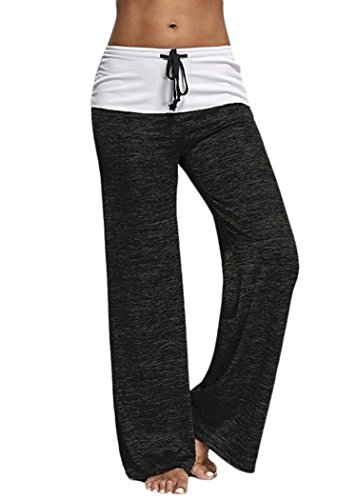 Zaywind Damen Yoga Hosen Freizeithose Lose lange Strecke Sweatpants Nähen Hautfreundliche Pants Hose Sommer, Schwarz, Gr. XX-Large