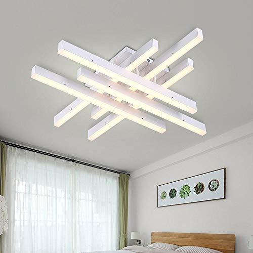 Modern Minimalistisch Wohnzimmer Deckenleuchte LED Mode Schlafzimmer Weiß Deckenlampe Elegant Acryl Aluminium Lampenschirm Kreativ Esszimmer Deckenbeleuchtung DREI-Farben-Licht L61cm 60W -