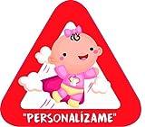 Pegatina Bebé a Bordo personalizable. Adhesivo vinilo para coche o moto. Sticker 16 x 14'5 cm.