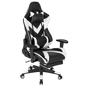 WOLTU® Racing Stuhl BS20ws Gaming Stuhl Bürostuhl Schreibtischstuhl Sportsitz mit Kopfstütze und Lendenkissen, Armlehne verstellbar, mit Fußstütze, Kunstleder, höhenverstellbar, Weiß