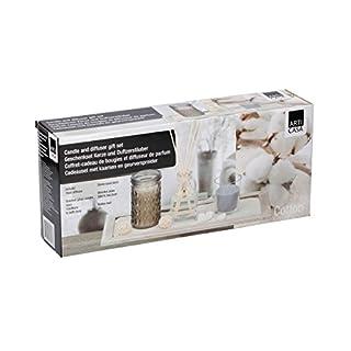 ArtiCasa Home Duftkerze Duft Reed Diffusor Geschenk-Set mit Dekor Tablett, Cotton Scent, Passion Fruit Scent
