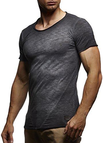 LEIF NELSON Herren oversize verwaschene T-Shirts Rundhals Shirts Basic LN6281-1; Größe M, Verw. Anthrazit (Jeans Verwaschene)