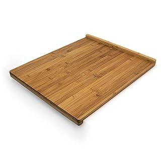 Relaxdays Tranchierbrett aus Bambus H x B x T: ca. 2,5 x 38 x 45 cm Schneidebrett mit doppelter Anschlagkante beidseitig verwendbar Küchenbrett besonders messerschonend großes Holzbrett robust, natur