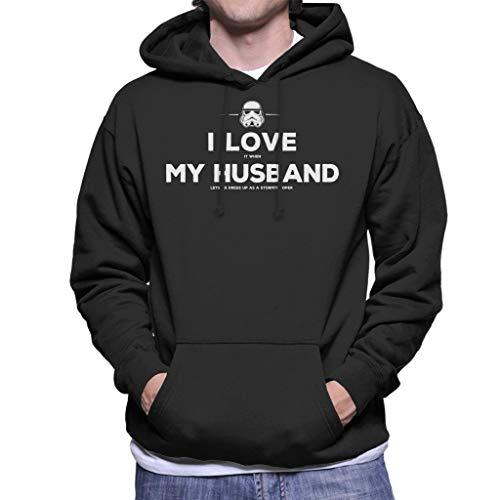 Original Stormtrooper Husband Lets Me Dress Up Men's Hooded Sweatshirt (Up Jedi Dress)