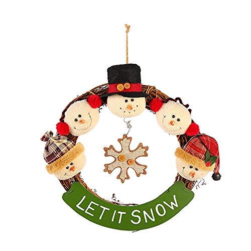 SPFAZJ Land Holz Rattan Weihnachten Anhänger Deko Puppe Kopf Schneemann Elch Santa Claus Weihnachtskranz -