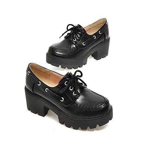 AgooLar Femme Matière Souple Rond à Talon Correct Lacet Chaussures Légeres Noir