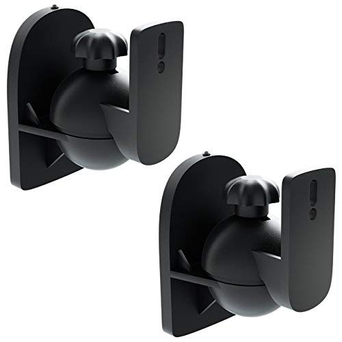 deleyCON 2X Universal Lautsprecher Wandhalterung Halterung Boxen Halter Schwenkbar + Neigbar bis 3,5Kg Deckenmontage + Wandmontage - Schwarz