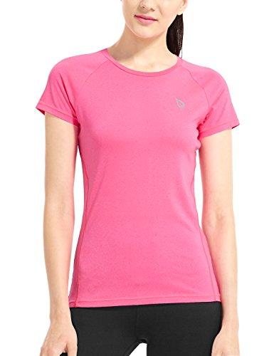 Baleaf Frauen Cool Kurzarm Laufshirt Performance Funktionsshirt mit Mesh Einsätze Rosa Größe S (Radfahren T-shirt Rosa Damen)